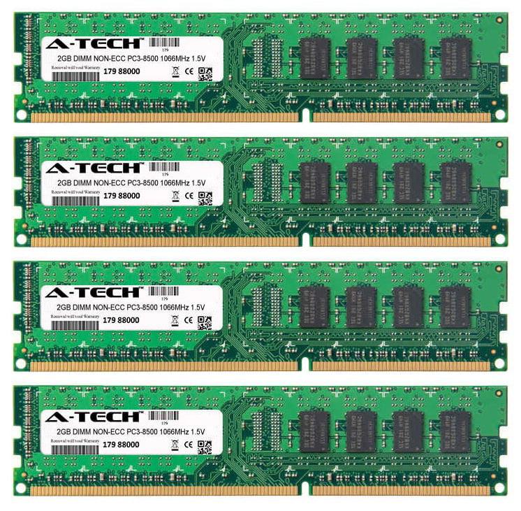 8GB Kit 4x 2GB Modules PC3-8500 1066MHz 1.5V NON-ECC DDR3 DIMM Desktop 240-pin Memory Ram