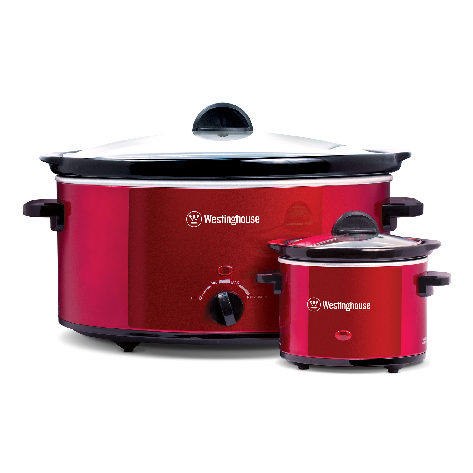 Westinghouse 8 Quart Stainless Steel Slow Cooker with Warmer, Red | WSC801RD