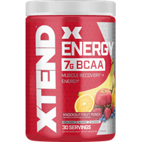 Xtend Energy BCAA Powder, 125mg Caffeine + Sugar Free Pre Workout Muscle Recovery Drink with Amino Acids, 7g BCAAs for Men & Women, Knockout Fruit Punch, 30 Servings