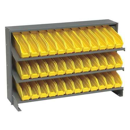 Sloped Shelving System,12 In. D,36 In. W QUANTUM STORAGE SYSTEMS QPRHA-100YL