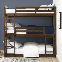 Better Homes & Gardens Tristan Triple Bunk Bed, Mocha