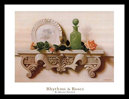 buyartforless FRAMED Rhythms & Roses 24x18 Art Print Poster Still Life Pink Roses White Plate Decorative Green Bottle by buyartforless