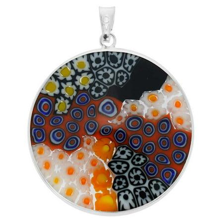 GlassOfVenice Murano Glass Millefiori Pendant in Silver Frame 1-1/4