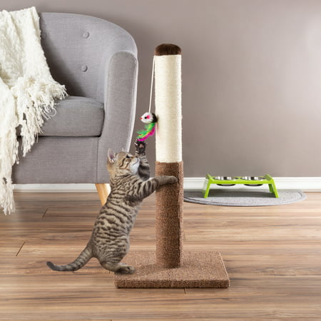 Cat Scratching Post - Tall Scratcher for Cats and Kittens with Sisal Rope and Carpet, Hanging Mouse Toy for Interactive Play by PETMAKER (24.5