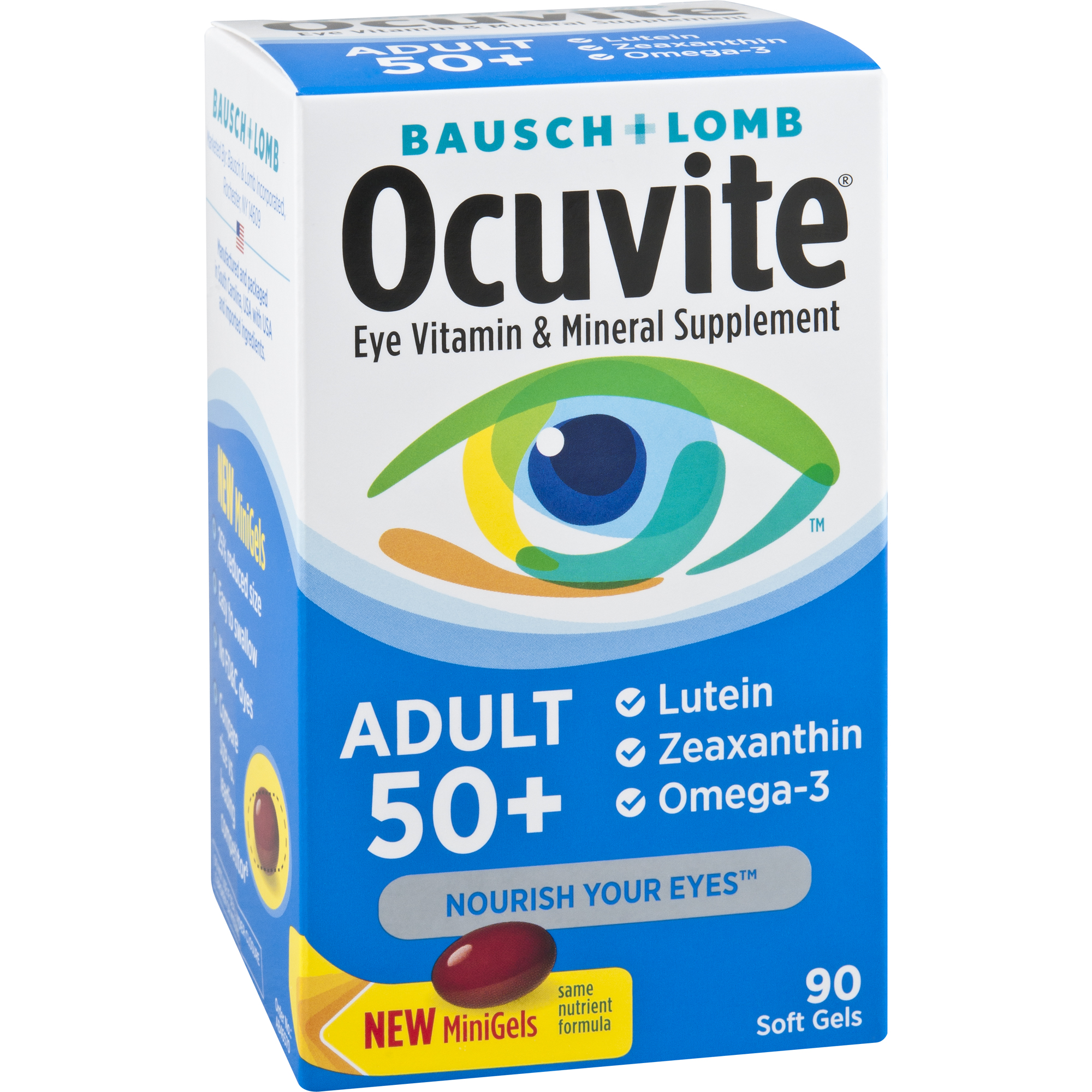 Bausch & Lomb Ocuvite Adult 50+ Vitamin & Mineral Supplement Soft Gels, 90 Ct