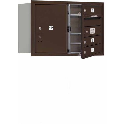 "Salsbury Industries 4C Horizontal Mailbox 5-Door High Unit (20""), Double Column, 3 MB1 Doors, 1 PL5, Aluminum, Front Load, USPS Access"
