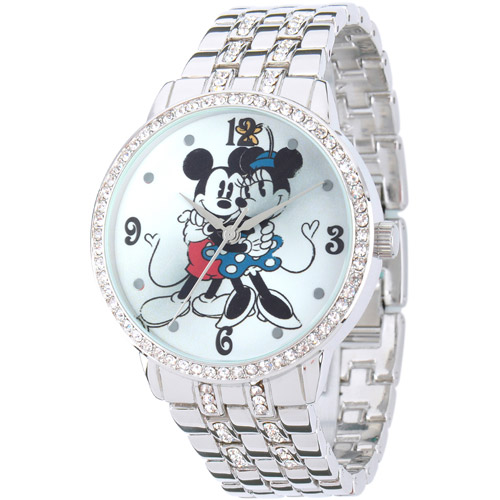 Disney Minnie & Mickey Women's Alloy Case Watch, Silver CZ Bracelet
