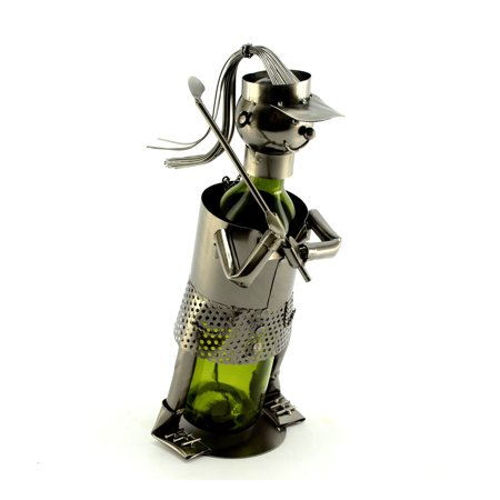 Golfer Wine Caddie - Metal Lady Golfer Wine Bottle Holder Character