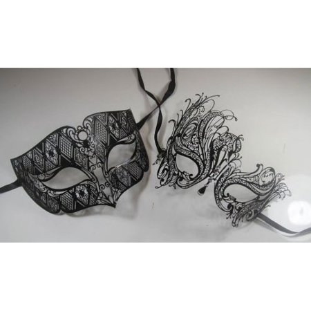 Lovers Men and Women Couples Venetian Masks - 2 Piece Black Colored Set