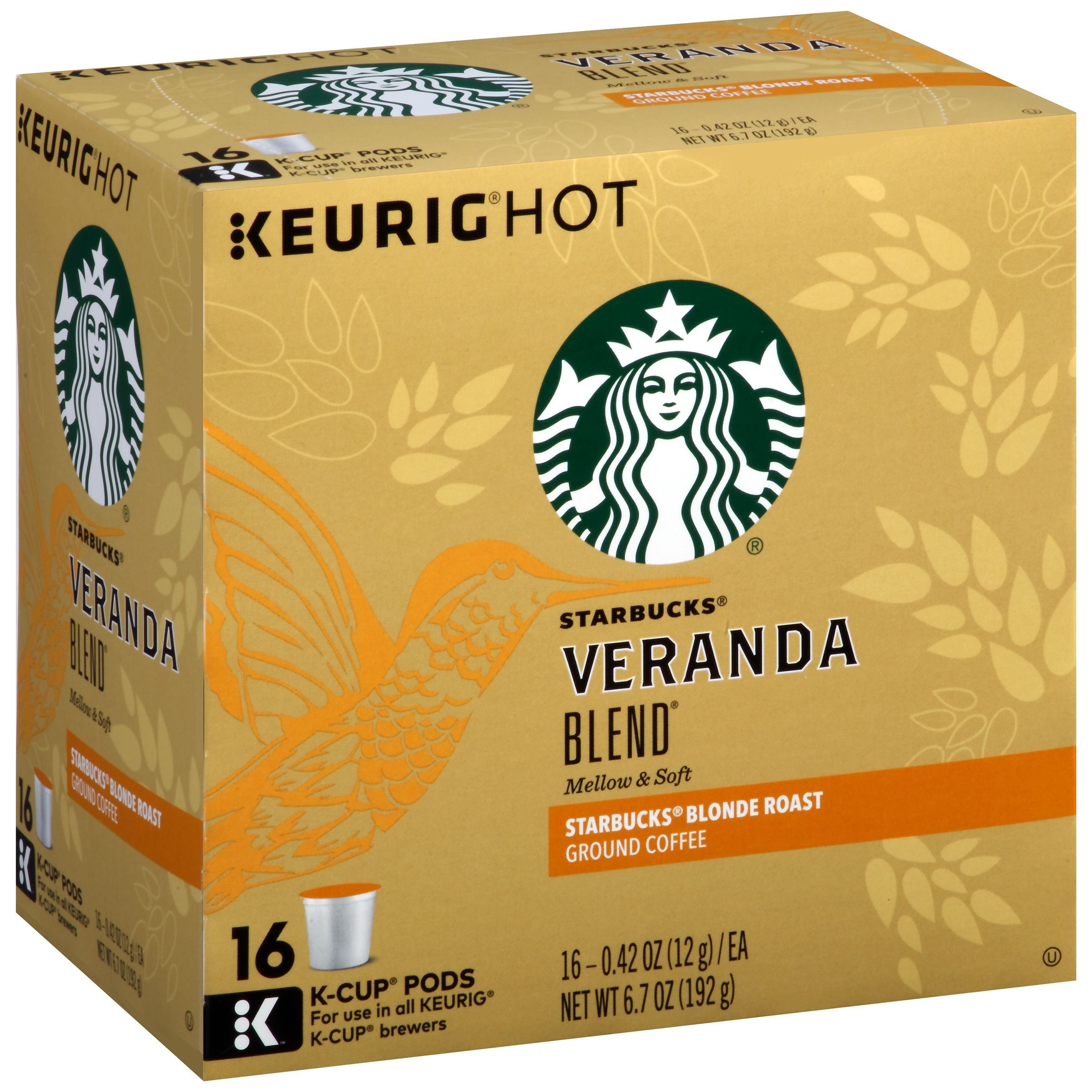 Starbucks® Veranda Blend® Blonde Roast Ground Coffee K-Cup® Pods 16 ct Box