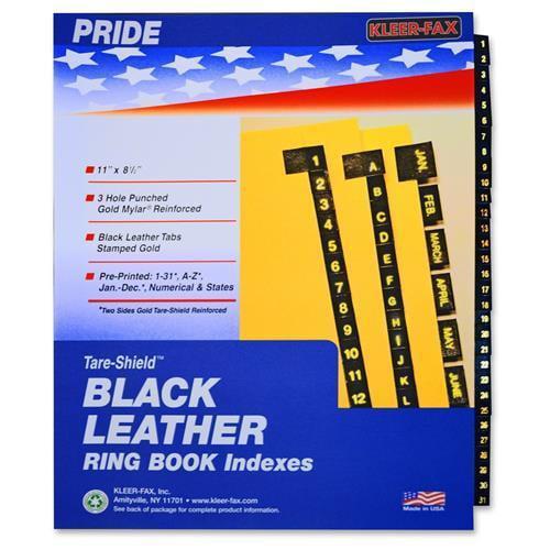Kleer-Fax, Inc. Preprinted Gold Stamped Tabs, 1-31, Black Leather