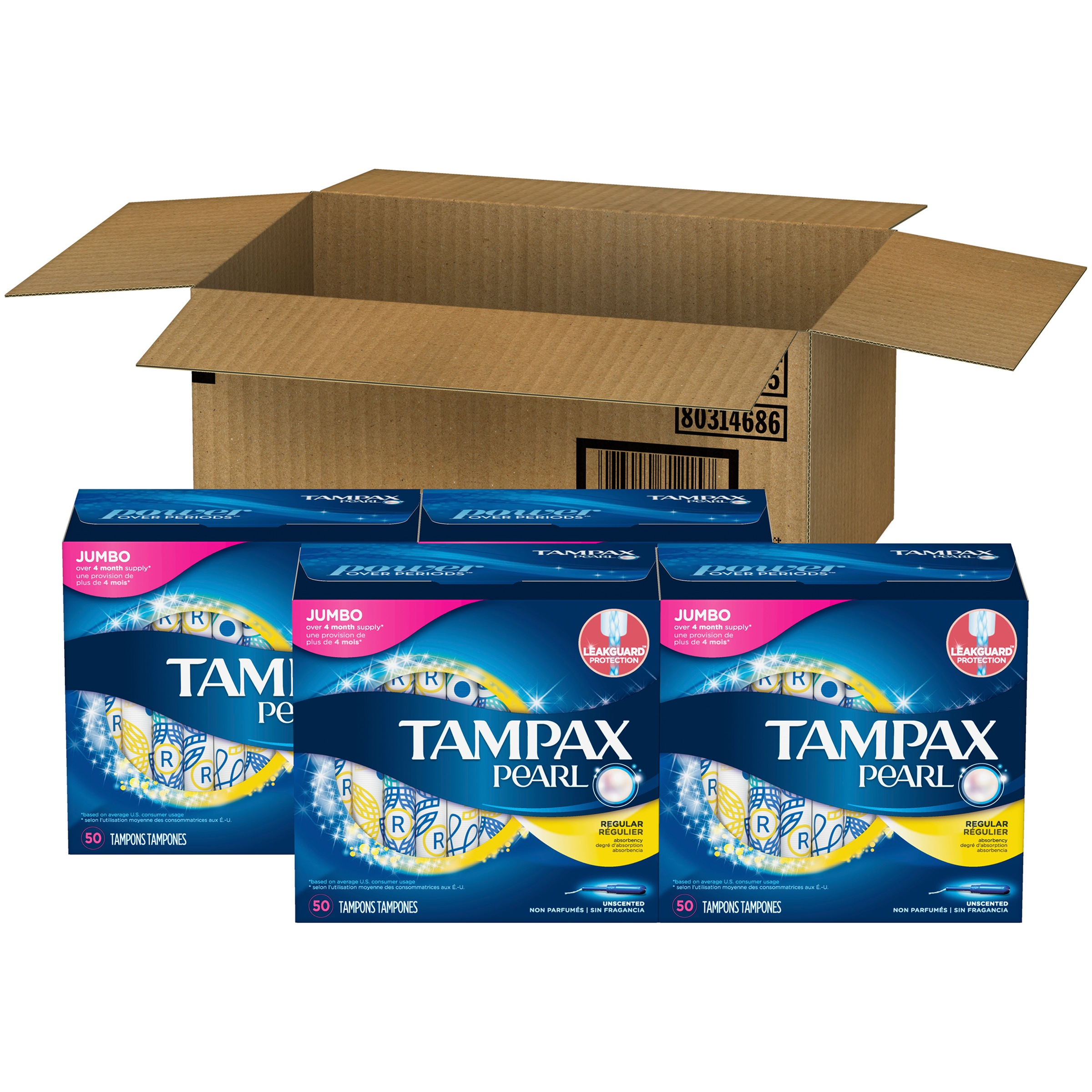 Tampax Pearl Regular Plastic Tampons, Unscented, 200 Count