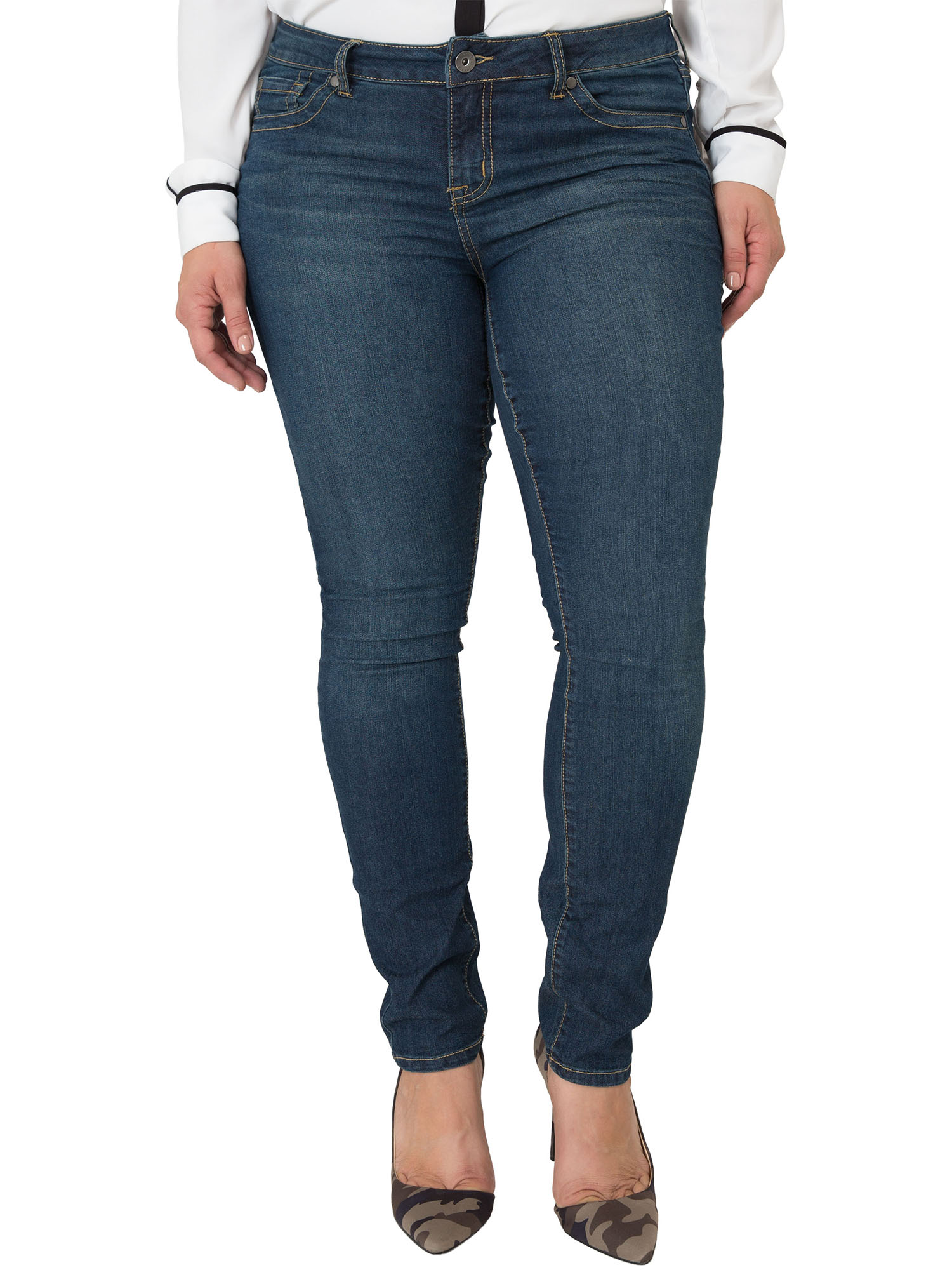 Miss Halladay Plus Size Women's Midrise Dark Wash Skinny Jeans Size 10 To 30