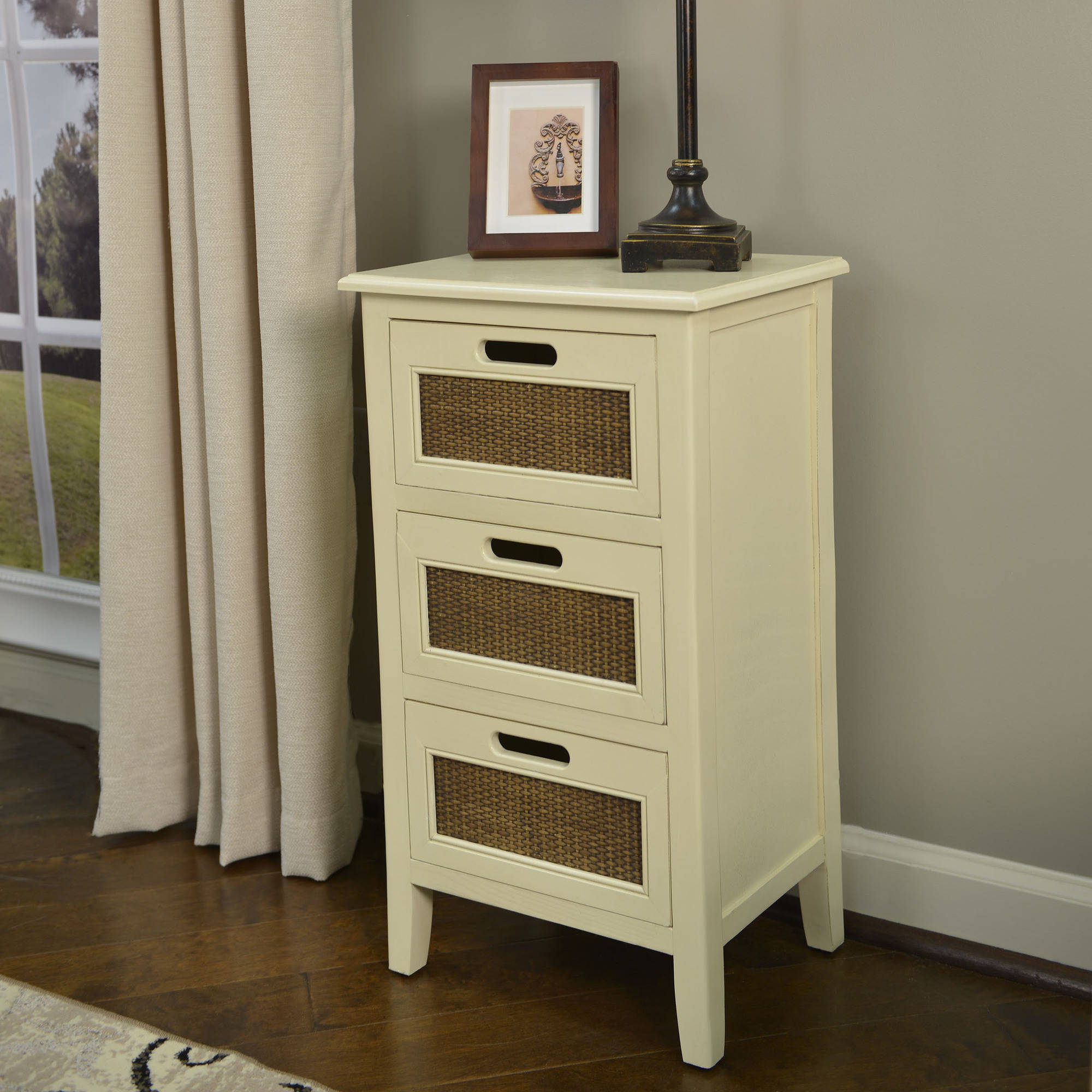 Better Homes and Gardens Wicker Accent 3-Drawer Table, Multiple Colors