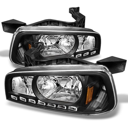 Fit 2006-2010 Dodge Charger Black LED Headlights w/Corner Lamps 06 07 08 09 10