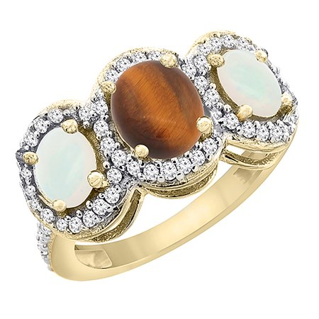 10K Yellow Gold Natural Tiger Eye & Opal 3-Stone Ring Oval Diamond Accent, size 5 10k Gold Tiger Eye