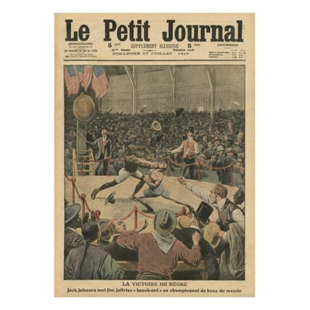 The Victory of the Negro, Jack Johnson Knocks Jim Jeffries Out at the World Boxing Championship Print Wall Art By French