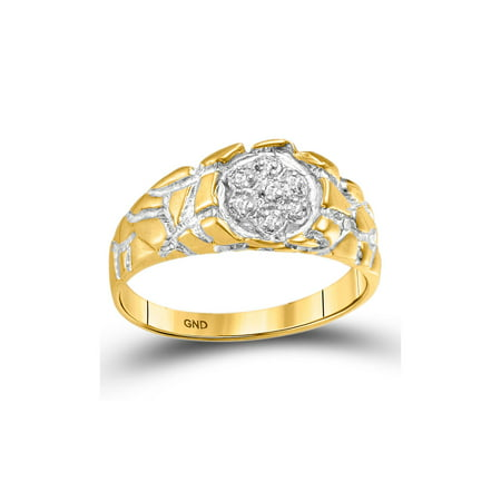 Gold Nugget Inlay (10kt Yellow Gold Mens Round Diamond Cluster Nugget Band Ring 1/20 Cttw )