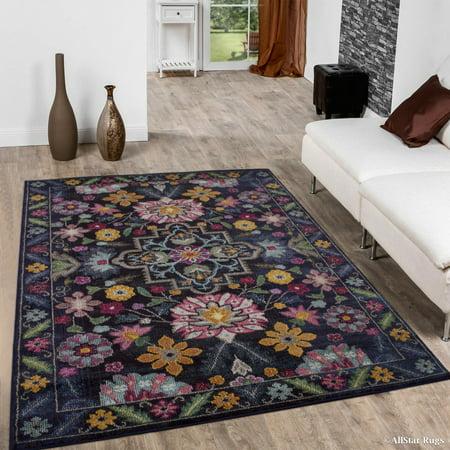 - Allstar Black High-Density Soft Geometric Distressed Abstract Floral Designed Area Rug (5' 0