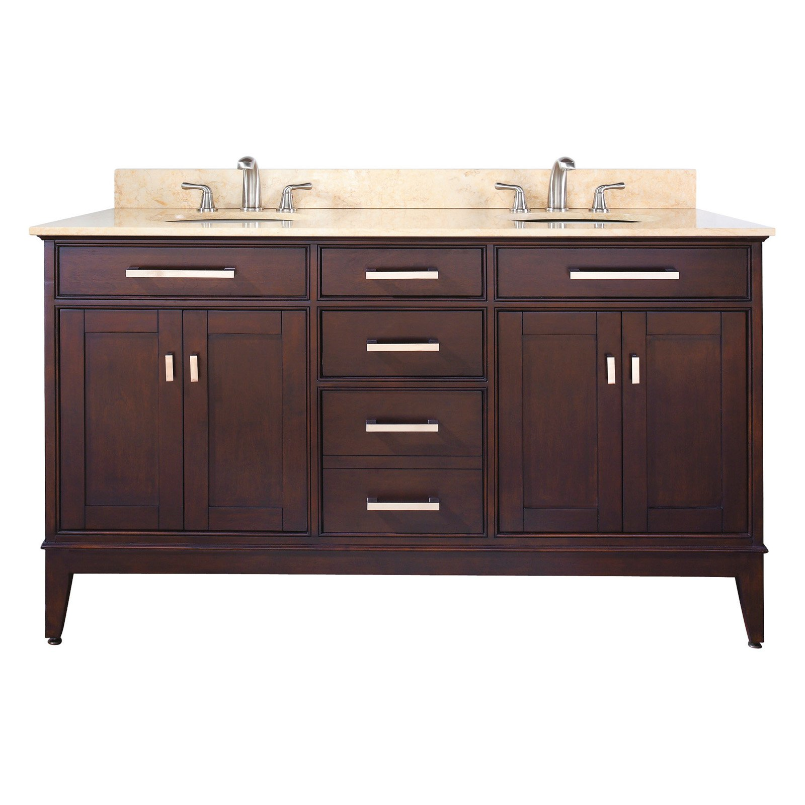 MADISON-VS60-TO-C Avanity Madison 60 in. Vanity with Carrera White Marble Top and Double Sinks in Tobacco finish