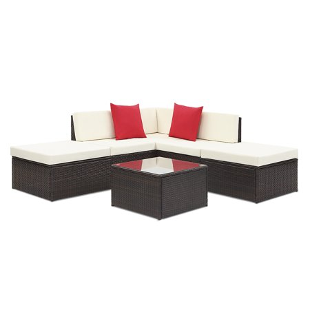 ikayaa 6pcs cushioned rattan outdoor patio furniture set garden wicker sectional corner sofa couch table set