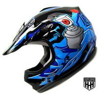 DOT Youth & Kids Helmet for Dirtbike ATV Motocross MX Offroad Motorcyle Street bike Flat Matte Black Helmet (Large, Black & Blue)