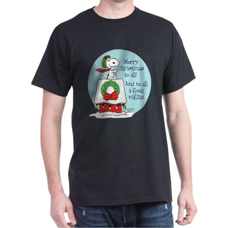 CafePress - Snoopy: Merry Christmas To All Dark T Shirt - 100% Cotton T-Shirt ()