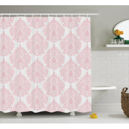 Damask Shower Curtain, Damask Pattern Royal Motif Baby Pink Floral Design Victorian Fashioned Print, Fabric Bathroom Set with Hooks, Pink and White, by Ambesonne](Pink Damask)