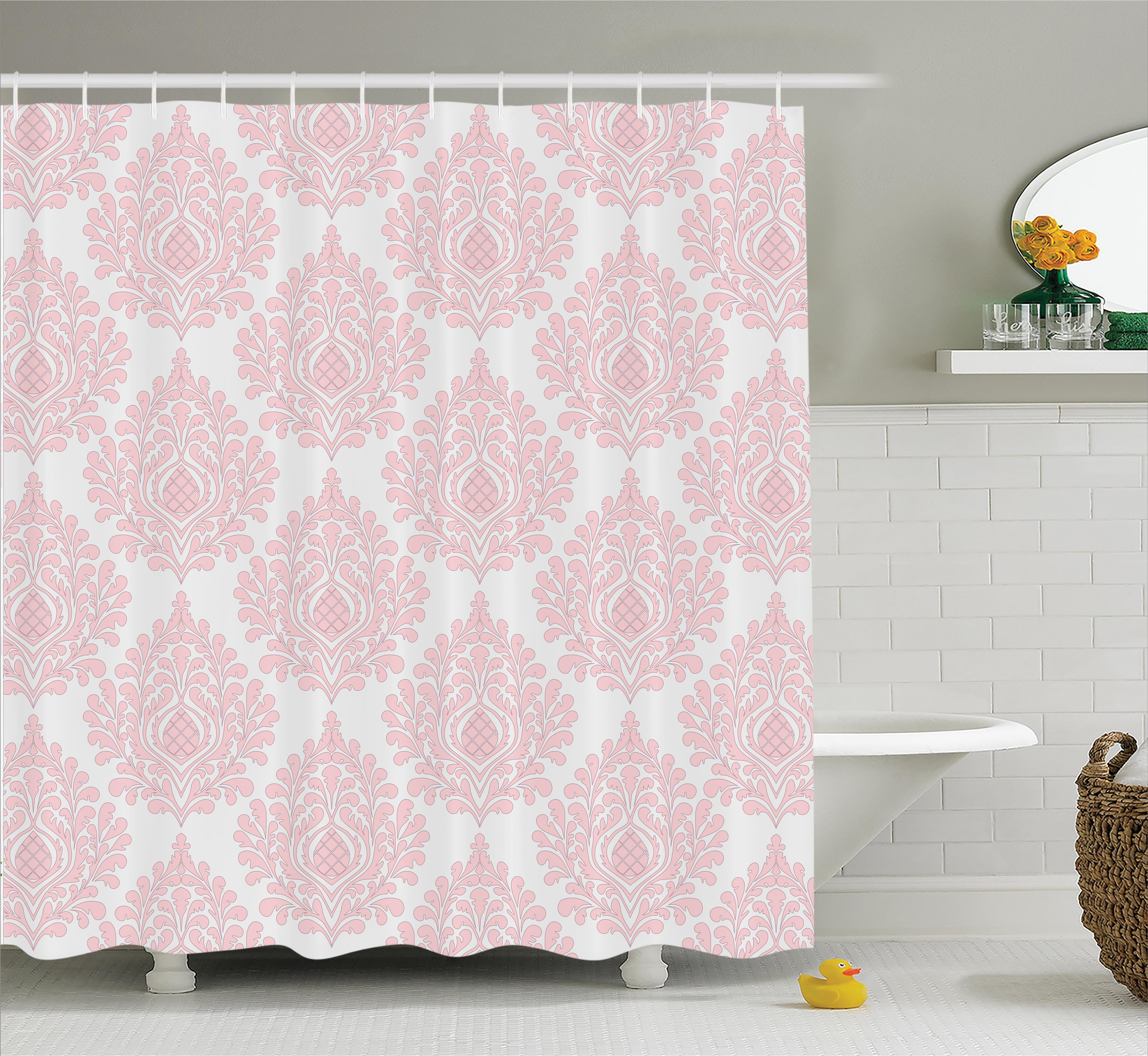 Damask Shower Curtain Set, Damask Pattern Royal Motif Baby Pink Floral Design Victorian Fashioned Home Decor, Bathroom Decor,  Pink White, by Ambesonne