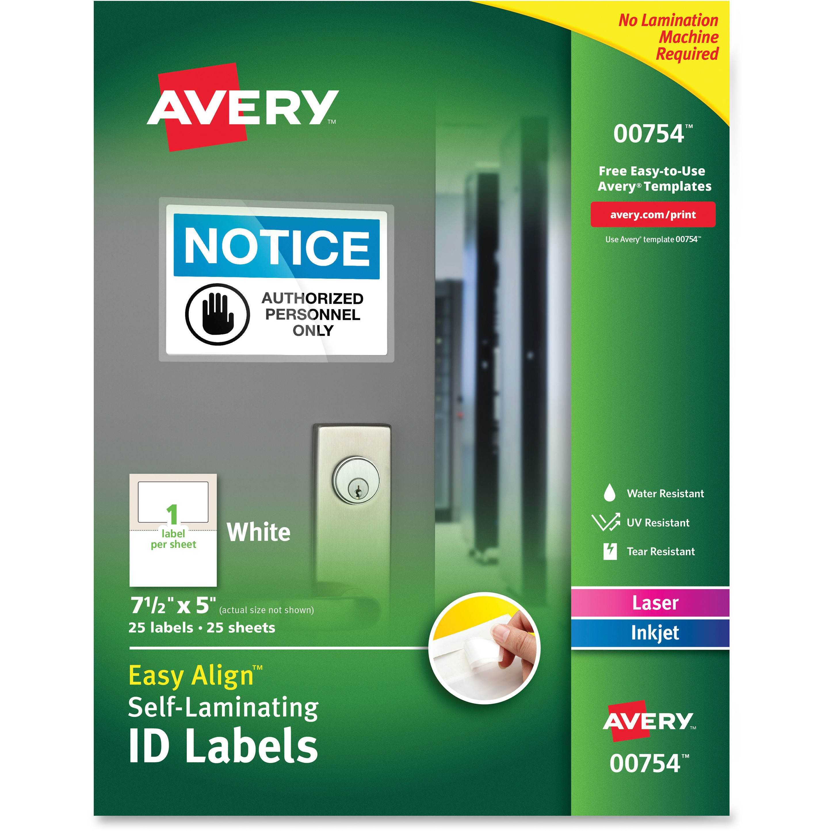 Avery Easy Align Self-Laminating ID Labels, Laser/Inkjet, 5 x 7 1/2, White, 25/PK