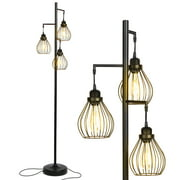 Brightech Teardrop Standing Floor LED Light Lamp Pole with 3 Cage Heads, Black