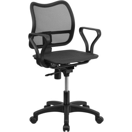 Flash Furniture Mid Back Black Mesh Swivel Task Chair With Loop Arms Walmar