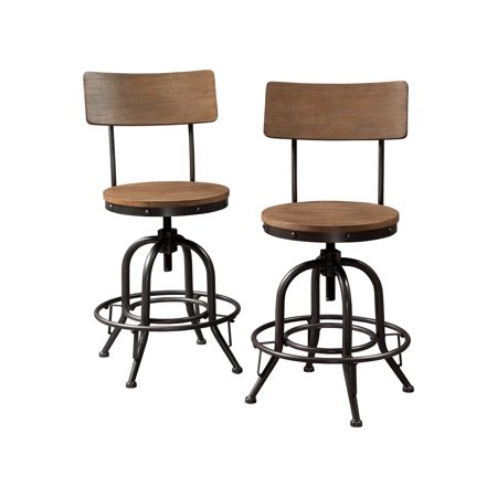 Signature Design by Ashley Pinnadel Swivel Stool Set of 2 Light Brown Signature Two Light