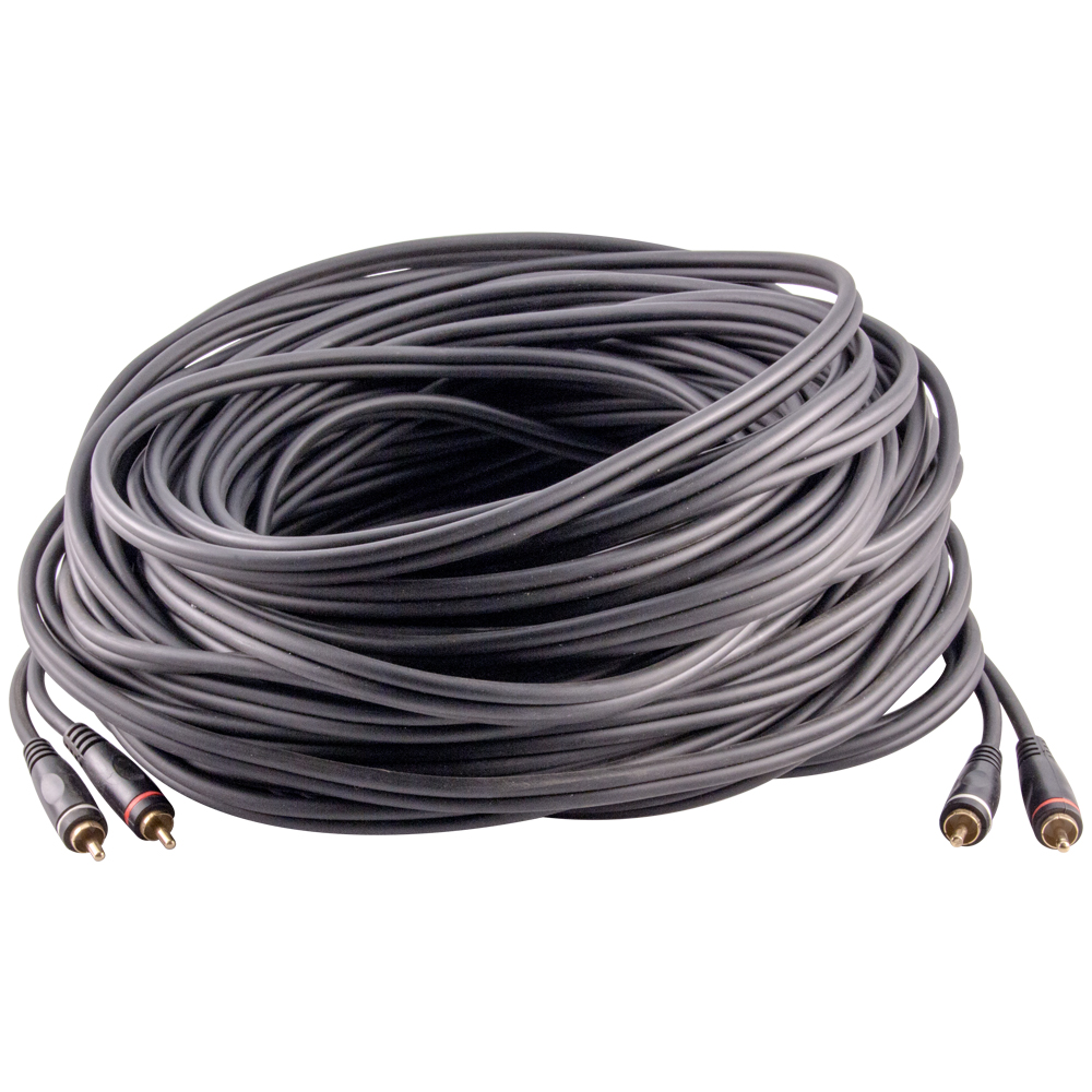 Seismic Audio 100 Foot Dual RCA Male to Dual RCA Male Audio Interconnect Cable - AV Cord - SA-2RCA100