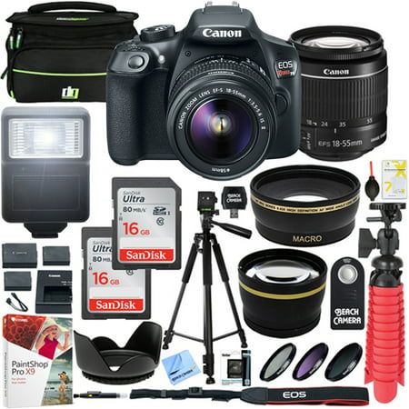 Canon T6 EOS Rebel DSLR Camera with EF-S 18-55mm f/3.5-5.6 IS II Lens and Two (2) 16GB SDHC Memory Cards Plus Triple Battery Tripod Cleaning Kit Accessory