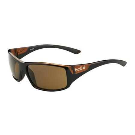 TNS 12123 KINGSNAKE Wrap Sunglasses Shiny Black over Crystal Brown BOLLE