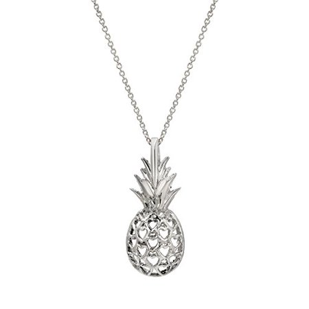 Sterling Silver Pineapple and Heart Hawaiian Pendant Necklace, 18 Inches (Hawaian Necklace)