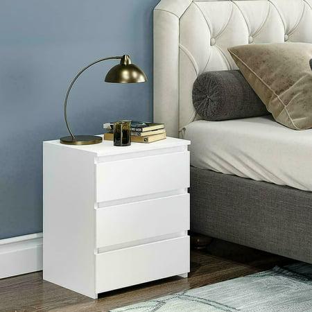 Kritne Bedside Table, Modern Bedside Table, White Modern Bedside Table Cabinet Nightstand with 3 Storage Drawers Bedroom Furniture