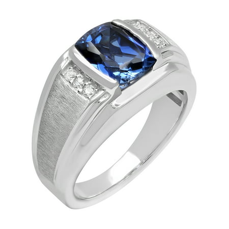 Men's Sterling Silver Created Blue and White Sapphire Ring – Mens ring