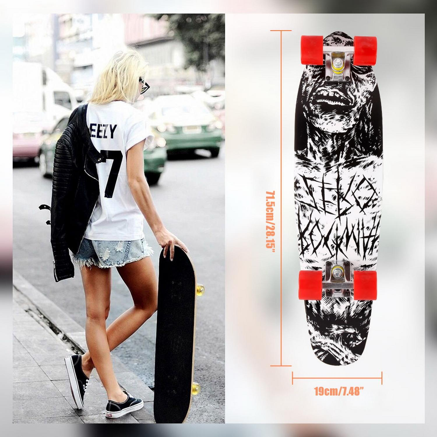 28''Cruiser Style Complete Skateboard Longboard with Wooden Deck Wood Skate Board for Kids Tenns Adults VAF by