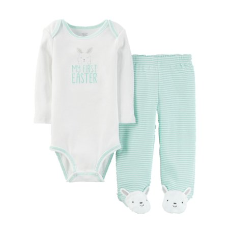 Infant Boys My First Easter Baby Outfit Mint Bunny Rabbit Bodysuit & Pants