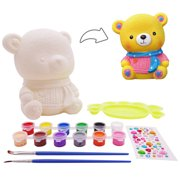 veZve Paint DIY Toy Craft Kit for Kids 4 to 8 Years Old Girls Boys Money Bank, Bear Figurine