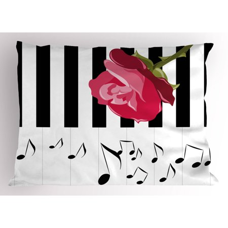 Modern Pillow Sham Hand Drawn Red Rose on Piano with Musical Notes Romantic Instrumental Art, Decorative Standard Size Printed Pillowcase, 26 X 20 Inches, Scarlet Black White, by Ambesonne - Musical Red Rose