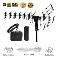 FiveStar Outdoor TV Antenna Up to 200 Mile Long Range with Motorized 360 Degree Rotation UHF VHF FM Radio with Infrared Remote Control Plus Installation Kit