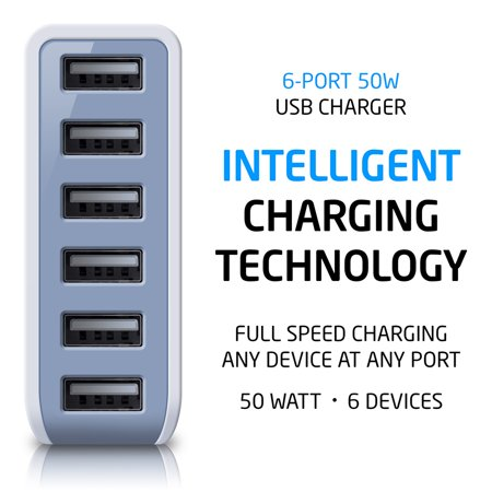 Photive 60 Watt 6 Port USB Desktop Rapid Charger with Intelligent USB Charger and Auto Detect Technology (White) USB Powered Extension Outlet for USB Powered Devices Kensington Power Port