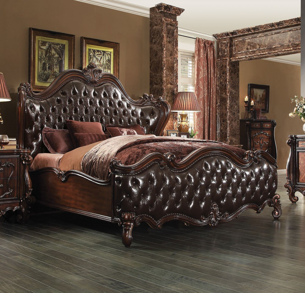 1PerfectChoice Versailles Dark Brown Pu Cherry Oak King Sleigh Bed by 1PerfectChoice