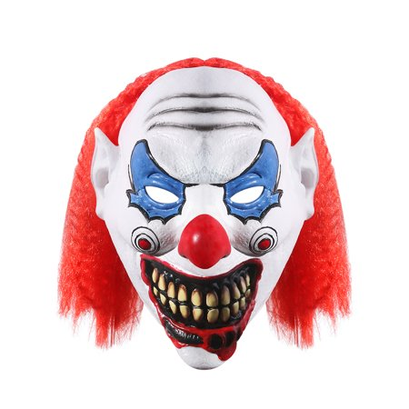 UNOMOR Halloween Latex Clown Mask Clown Cosplay Masquerade Head Mask with Hair Halloween Costume Party Props - Latex Clown