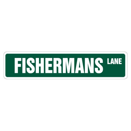 "FISHERMAN Street Sign fishing boat lures reel waders | Indoor/Outdoor |  24"" Wide"