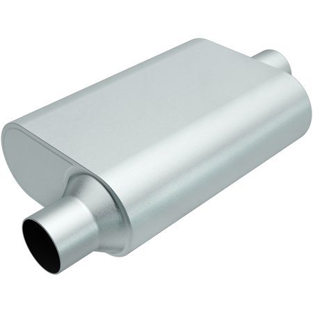 Rumble Exhaust R22541 Replacement RUMBLE Muffler; Oval; 13 in. x 4.25 in. x 9.5 in.; Overall Length 19 in.; 2.5 in. Inlet/Outlet; Offset/Center; Stainless Steel;