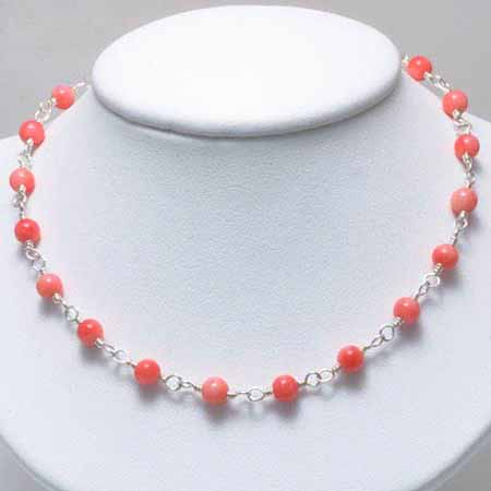 Sterling Silver Pink Coral Beaded Necklace by SilverSpeck
